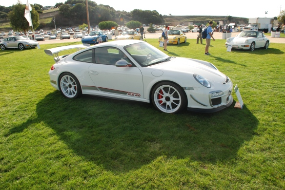 White 2011 Porsche 911 GT3 RS4.0_ my first in person viewing at Rennsport Reunion IV_ Laguna Seca race track _october 2011