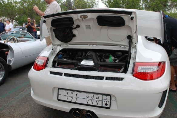 White 2011 Porsche GT3 RS4.0_rear view with open decklid_cars&coffee_August 2014