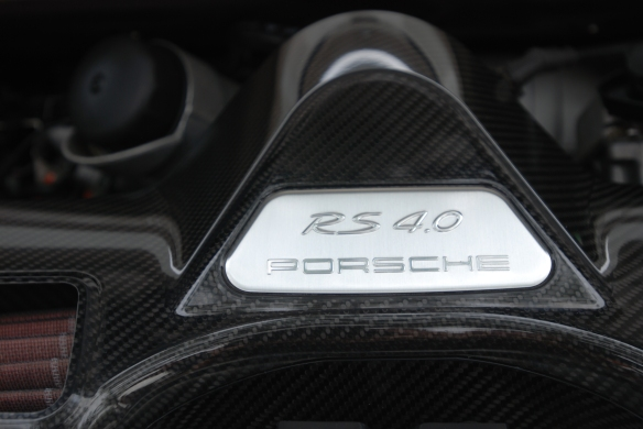 White 2011 Porsche GT3 RS4.0_carbon fiber air intake detail_cars&coffee_August 2014