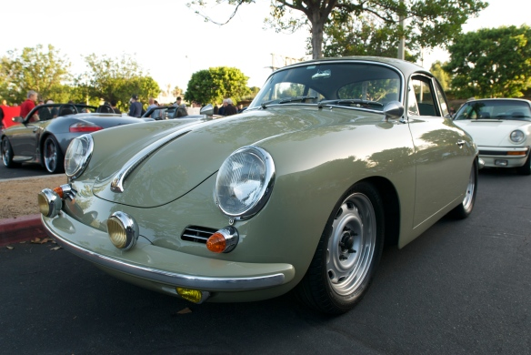 Stone gray Porsche 356 SC coupe_3/4 front view with reflections_cars&coffee_September 27, 2014