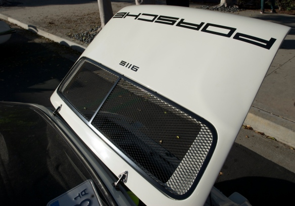 White 1972 Porsche 911ST recreation_ rear decklid detail_cars&coffee_September 27, 2014