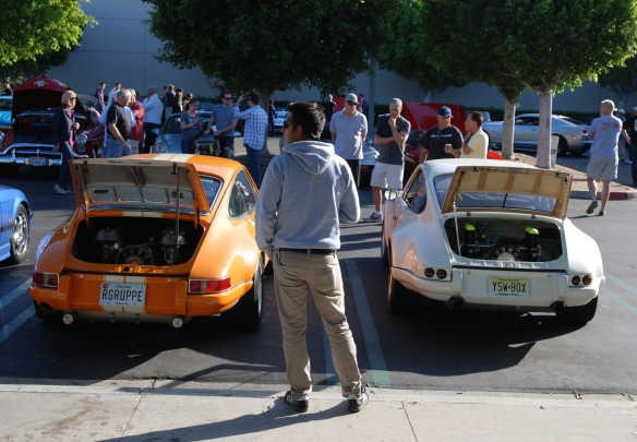 2 Porsche 911 hot rods, rgruppe  style_rear view with opened deckles_cars&coffee_September 27, 2014