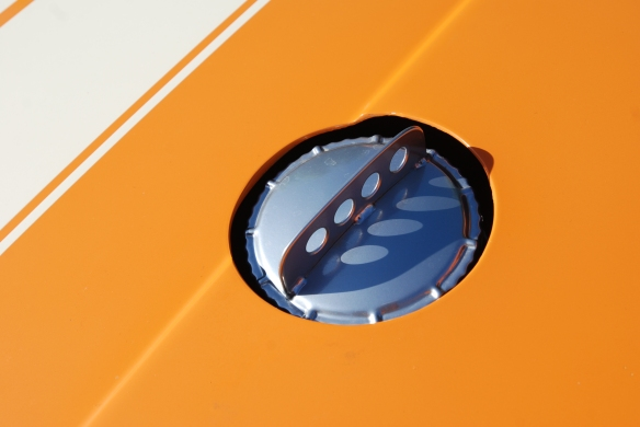 Orange Porsche 911ST_thru hood gas cap detail with shadows_cars&coffee_September 27, 2014