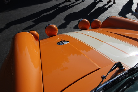 Orange Porsche 911ST_hood reflections and people shadows_cars&coffee_September 27, 2014