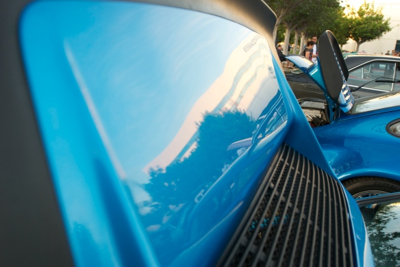Blue porsche 11 Carrera 3.0 _rear spoiler reflections_cars&coffee_October 4, 2014