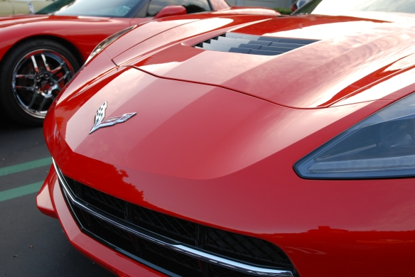 2014 Red Corvette C7_3/4 front view with reflections_cars&coffee_OCtober 18, 2014