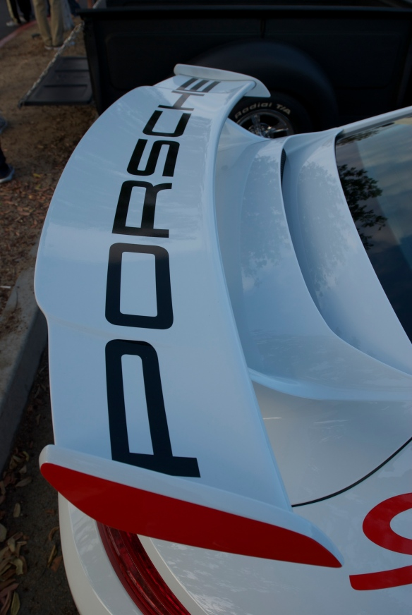 2014 Porsche GT3_rear wing with graphics detail_cars&coffee_October 18, 2014