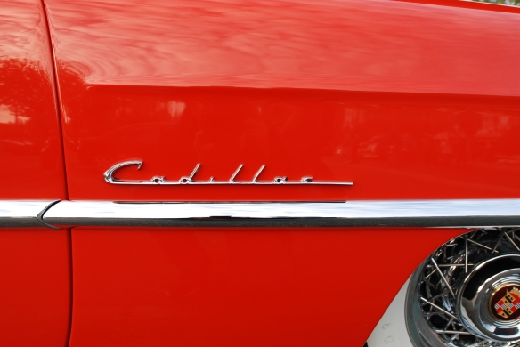 Red 1953 Cadillac Eldorado convertible_front fender detail_cars&coffee_October 18, 2014